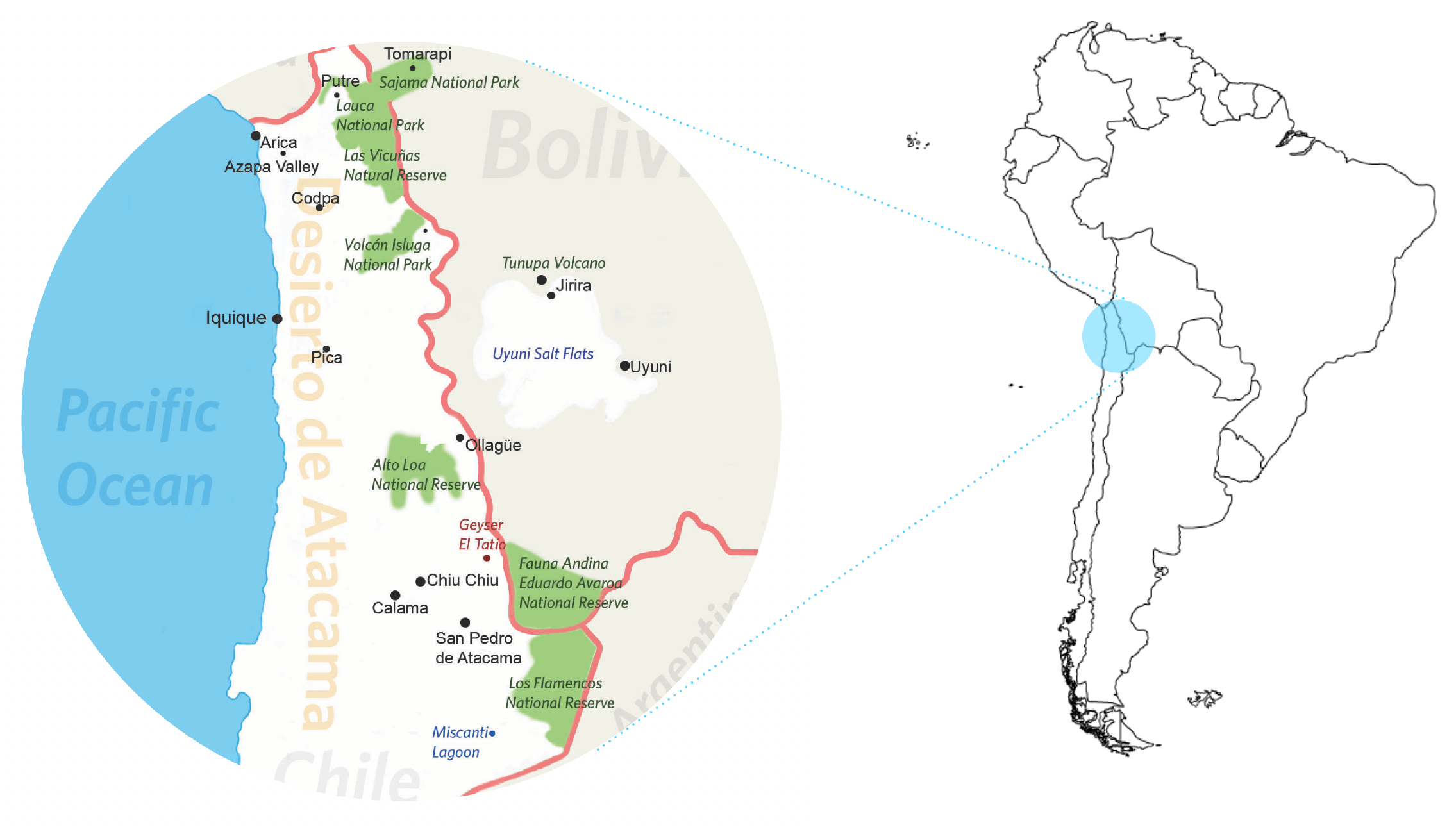 northern Chile graphic map